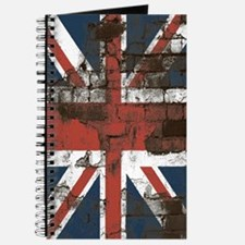 Distressed Union Jack Flag Brick Wall Journal