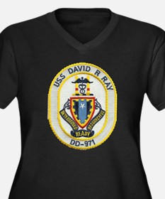 USS DAVID R. Women's Plus Size V-Neck Dark T-Shirt