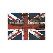 Distressed Union Jack Flag Brick Wall 5'x7'Area Ru