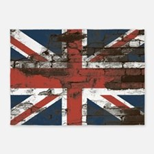 Distressed Union Jack Flag Brick Wall 5'x7'Area Ru