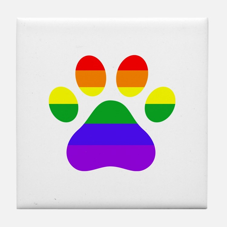 Puppy Paws Pride Tile Coaster