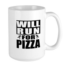 Run for Pizza (Black) Mugs