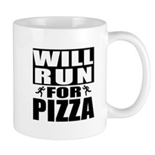 Run for Pizza (Black) Mugs