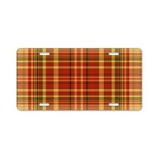 Pizza Plaid Aluminum License Plate