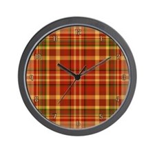 Pizza Plaid Wall Clock