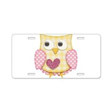 Yellow owl Aluminum License Plate