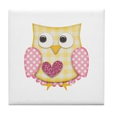 Yellow owl Tile Coaster