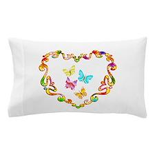 Fancy Heart Butterflies Pillow Case