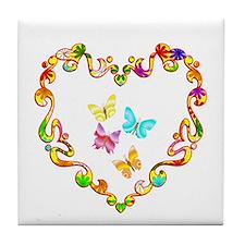 Fancy Heart Butterflies Tile Coaster