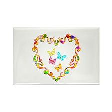 Fancy Heart Butterflies Rectangle Magnet