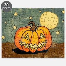 Cute Pumpkin Moon And Stars Puzzle