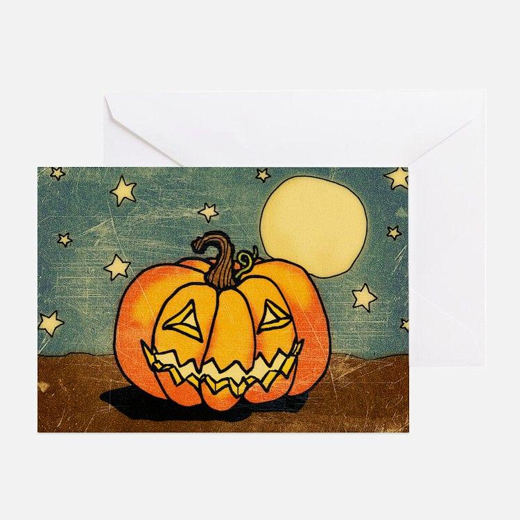 Cute Pumpkin Moon And Stars Greeting Cards