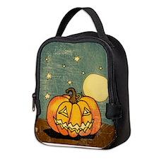 Cute Pumpkin Moon And Stars Neoprene Lunch Bag