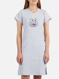 Purple heart owl Women's Nightshirt
