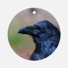 Portrait of a Raven Round Ornament