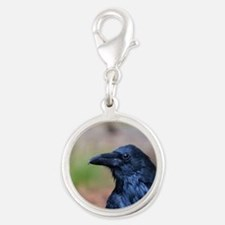 Portrait of a Raven Silver Round Charm