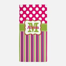 Pink Lime Green Dots Personalized Beach Towel