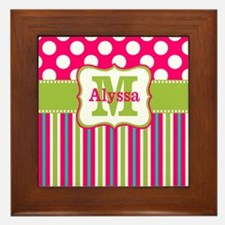 Pink Lime Green Dots Personalized Framed Tile
