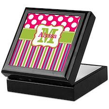 Pink Lime Green Dots Personalized Keepsake Box