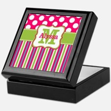 Pink Lime Green Dots Personalized Keepsake Box