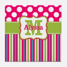 Pink Lime Green Dots Personalized Tile Coaster