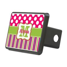 Pink Lime Green Dots Personalized Hitch Cover