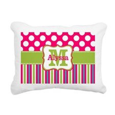 Pink Lime Green Dots Personalized Rectangular Canv