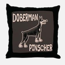 Doberman Primitive Throw Pillow