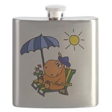 Hippo at the Beach Flask