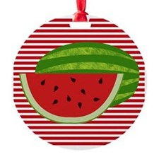Watermelon on Red and White Ornament
