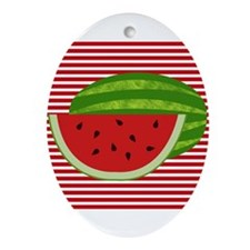 Watermelon on Red and White Ornament (Oval)