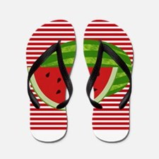 Watermelon on Red and White Flip Flops