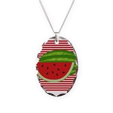 Watermelon on Red and White Necklace