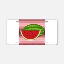Watermelon on Red and White Aluminum License Plate