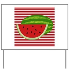 Watermelon on Red and White Yard Sign
