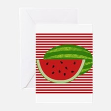 Watermelon on Red and White Greeting Cards
