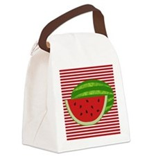 Watermelon on Red and White Canvas Lunch Bag