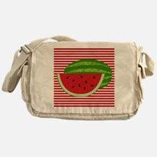 Watermelon on Red and White Messenger Bag