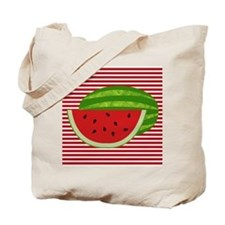 Watermelon on Red and White Tote Bag