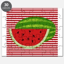 Watermelon on Red and White Puzzle