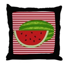 Watermelon on Red and White Throw Pillow