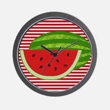 Watermelon on Red and White Wall Clock