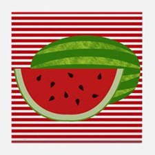 Watermelon on Red and White Tile Coaster
