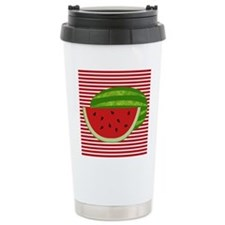 Watermelon on Red and White Travel Mug