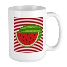 Watermelon on Red and White Mugs