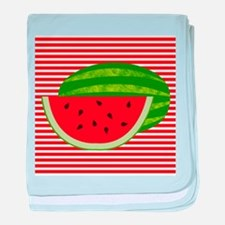 Watermelon on Red and White baby blanket