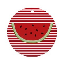 Watermelon Slice on Red and White Ornament (Round)