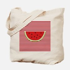 Watermelon Slice on Red and White Tote Bag