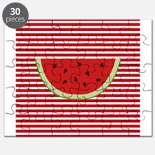 Watermelon Slice on Red and White Puzzle