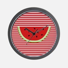 Watermelon Slice on Red and White Wall Clock